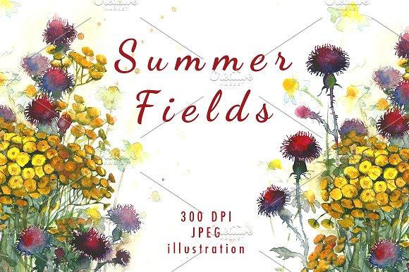 Watercolor Meadow Summer Field