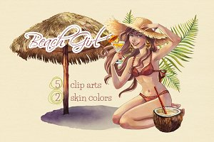 Beach Girl Summer Clip Arts