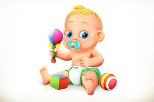 Baby and toys, vector icon