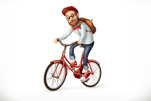 Man on a bicycle, vector icon