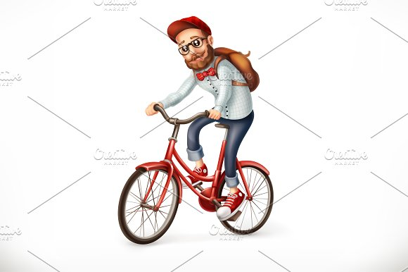 Young man on a bicycle, hipster