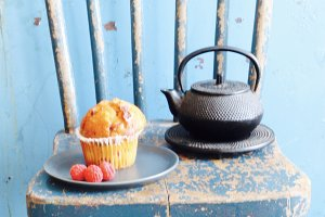 Tea and Muffin Blue