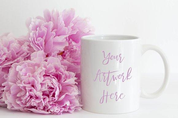 Pink Peonies White Mug Mockup
