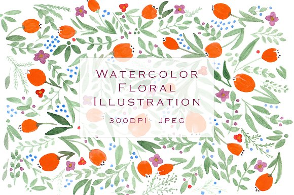SALE! Floral watercolor illustration