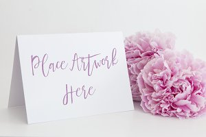 Pink Peonies A6 White Card Mockup