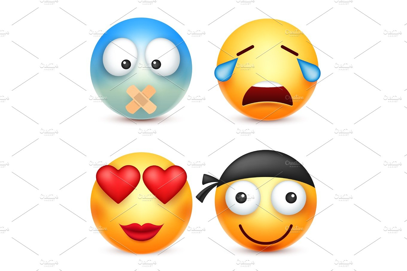 Smiley,emoticons set  Yellow face with emotions  Facial expression  3d  realistic emoji  Funny cartoon character Mood  Web icon  Vector  illustration