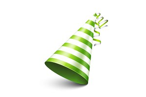 Party shiny hat with ribbon. Holiday decoration.Celebration.Birthday.Vector illustration on white background.