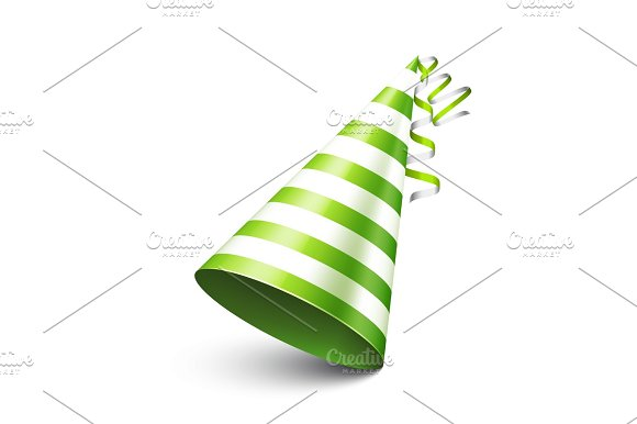 Party Shiny Hat With Ribbon Holiday Decoration.Celebration.Birthday.Vector Illustration On White Background