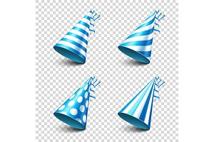 Party shiny hat with ribbon. Holiday decoration.Celebration.Birthday.Vector illustration on transparent background. Set.