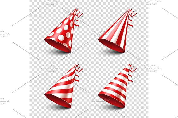 Party Shiny Hat With Ribbon Holiday Decoration.Celebration.Birthday.Vector Illustration On Transparent Background Set
