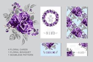 Violet Roses Floral Cards