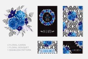 Blue Roses Floral Cards