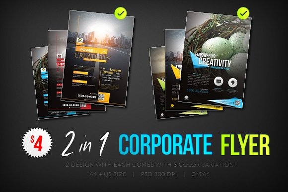 Corporate Flyers Psd Template 2 In 1