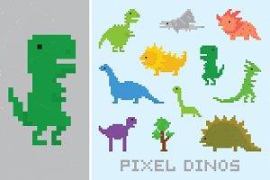 Pixel dinos set