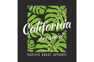 California dreamin tee print with tropical leaves.