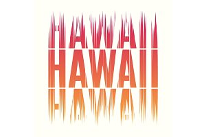 Hawaii tee print. T-shirt design graphics stamp label typography