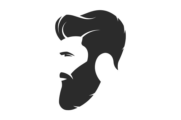 Bearded Man Hipster Style Fashion Silhouette Avatar Emblem