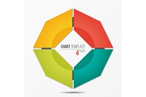 Polygonal circle chart infographic template with 4 parts