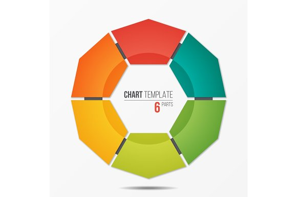 Polygonal Circle Chart Infographic Template With 6 Parts