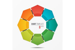 Polygonal circle chart infographic template with 8 parts
