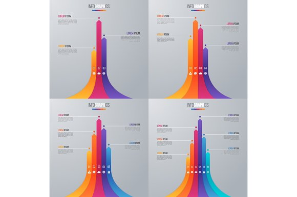 Bar Chart Infographic Template With 5 Options