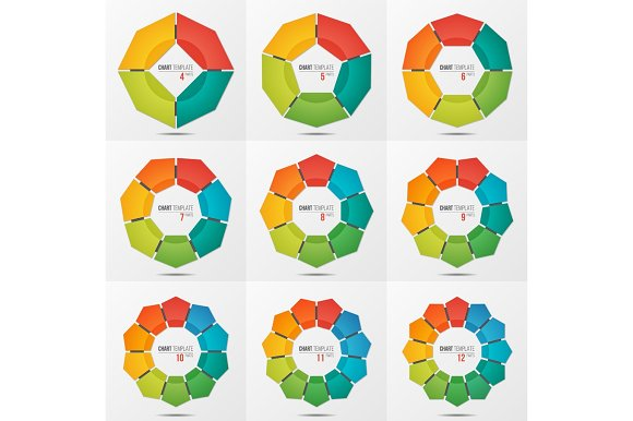 Set Of Polygonal Circle Chart Templates With 4-12 Parts
