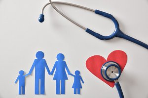 Family medicine concept with heart