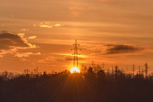 Sunrise over the electrical Pole