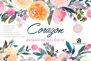 Corazon - Watercolor Floral Set