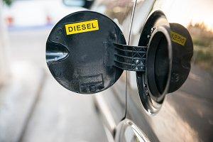 Opened car fuel tank