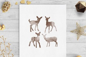 baby deer watercolor clip art svg