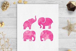 baby elephant watercolor clip art