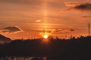 Sunrise over the electrical Pole