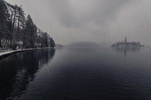 Bled on a dark & snowy day in winter