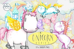 Cute Unicorn Clipart Watercolor