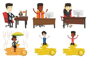 Vector set of business characters.