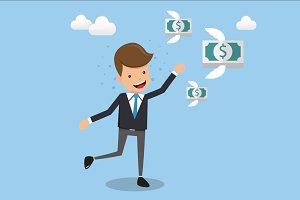 Businessman Running Follow Money.