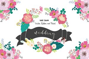 wedding flower and logo elements