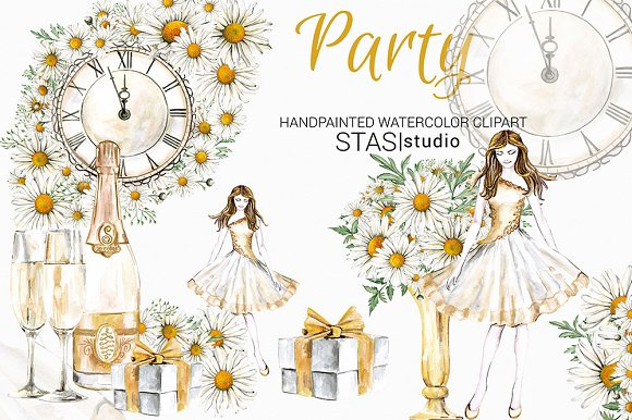 new year party watercolor clipart illustrations