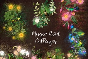 Magic Birds Collage Elements