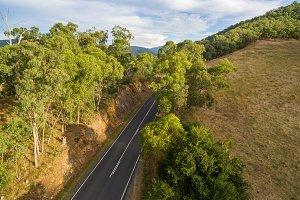 Aerial view of rural road