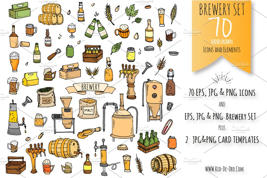70 Brewery color hand drawn icons!