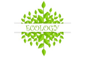 Ecology Banner with Green Branches and Leaves