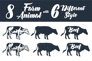 8 Farm Animal with 6 Different Style