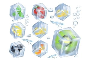 Fruits, Berries and Herb in Ice Illustrations