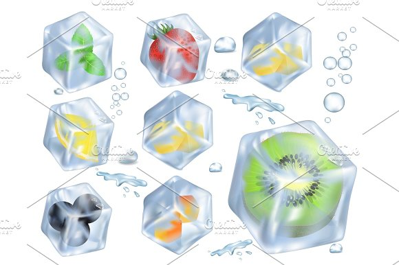 Fruits Berries And Herb In Ice Illustrations