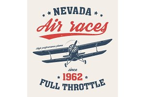 Nevada t-shirt design, print, typography, label with old airplan