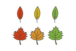 Colorful Leaves Flat Vector Icons Set