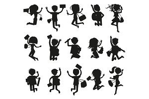 Silhouettes of Happy Excited Jumping Students