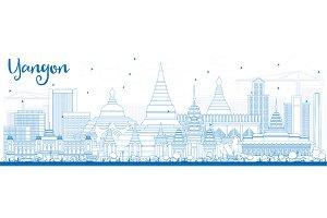 Outline Yangon Skyline